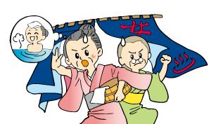 老婦人同士の先陣争い